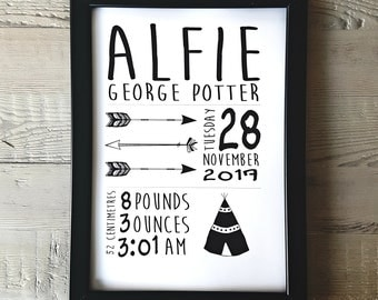 PERSONALISED NEW BORN Baby Nursery Newborn Print