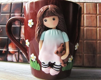 DecoratedmugТeacupdecorcoffeeteacup PolymerclayGiftforgirl Handmademug Polymerclayfunnygift Coffeegift Personalized mug Decorated mug Girl