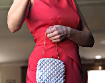 Vintage Sequined Clutch Made in Hong Kong