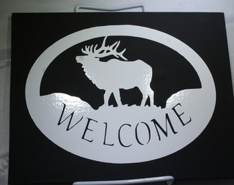 Welcome Moose Painting With Vinyl Lettering - Wall Art - Painting - Picture - Family