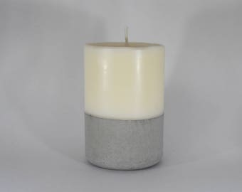 Small Soy Wax Pillar Candle with Concrete Base - Unscented