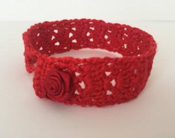 Red crocheted bracelet