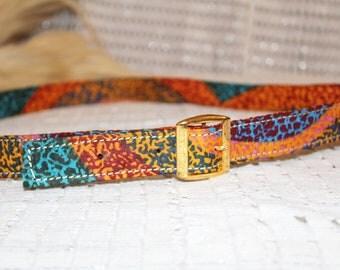 Custom Rainbow Ankara Print Belt