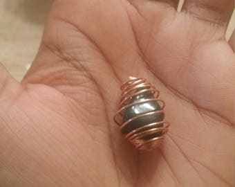Copper Caged Wrapped Bloodstone Pendant