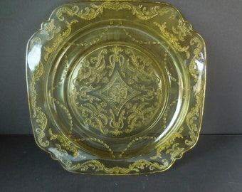 Vintage Amber Depression Glass Luncheon Plate Madrid Pattern made by Federal Glass