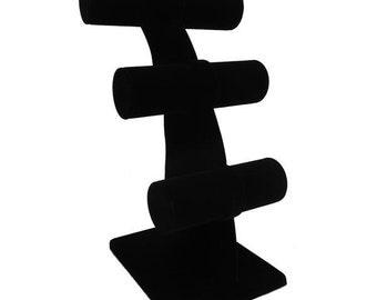 """Black Velvet T Bars Bracelet Display 6 1/4x11 1/2""""H"""