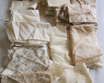 Stash-Buster Neutral Cotton Quilting Fabric Scraps
