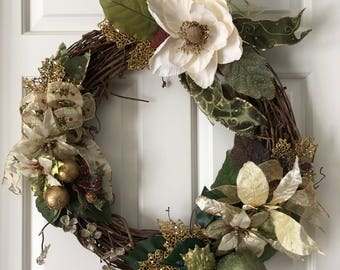 Frosted Magnolia and Gold Grapevine wreath