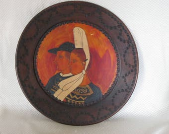 Carved wood painted plate decorative