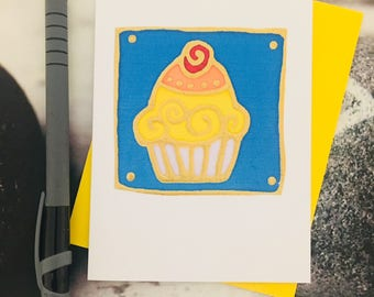 hand painted silk cupcake card