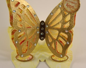 Unique handmade Butterfly easel greeting card, yellow, gold, gems, butterfly, foiled, birthday