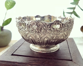 Decorative Silver-Accented Bowl // Jewelry Dish // Vintage Decor
