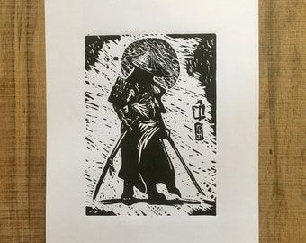 Samurai Japanese Warrior Lino Print. Oriental Sword Mystical Art Poster A4