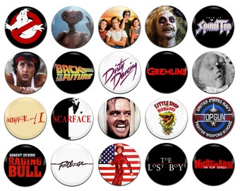 20x 80's Movies Various 25mm / 1 Inch D Pin Button Badges