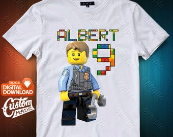 Lego Police Iron On Transfer, Lego Police Birthday Shirt DIY, Lego Police Shirt Designs, Lego Police Printable, Personalize, Digital Files