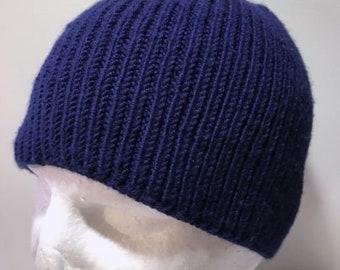 Hand Knitted Blue Merino Ribbed Skull Cap