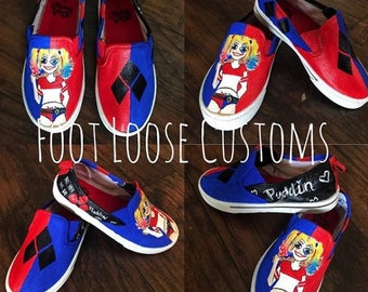 Harlery Quinn Custom Painted Shoes