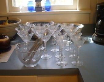 beautiful wildflower barware 14 cambridge glass