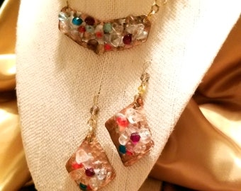 Copper Multi Color Gemstones with Earings