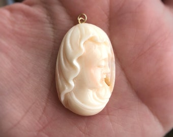 Angel Skin Coral Cameo (Pendant Only)