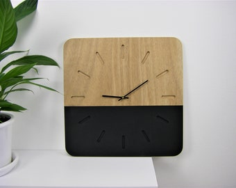 Wooden wall clock / black