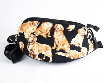 Fanny pack Golden Retriever fabric - Cute  - Hip Waist Bag - 2 Zippers
