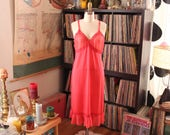 1950s vintage coral pink nylon dress slip SALE, womens size large