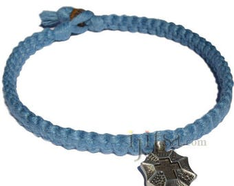 Sapphire Wide Flat Hemp Necklace with Cross shield Pewter Pendant