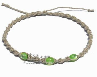 Natural Twisted Hemp Green Resin Beads Surfer Style Choker Necklace