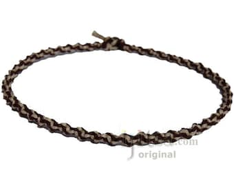 Dark Brown and Natural Soft Hemp Twisted Surfer Choker Necklace