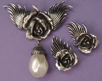 Silver BOTTICELLI Earrings Set, Botticelli Pearl and Rose Earrings Set, Botticelli Floral Earrings Set, Botticelli Pearl Earrings Set