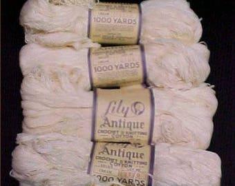 4 Huge Skeins Vintage Antique Lily Crocheted Cotton Thread Bedspread 40000 Yards
