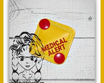 MeDICAL ALeRT SHoE Snap Tab ~ In the Hoop ~ Downloadable DiGiTaL Machine Embroidery Design by Carrie