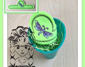 DRAGONFLY Easter Egg Wrap Hugger ~ Snap Tab ~ In The Hoop ~ Downloadable DiGiTaL Machine Embroidery Design by Carrie
