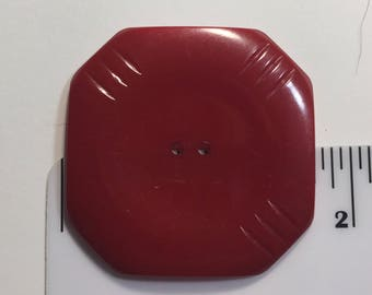 Huge Red Vintage Bakelite Square Button