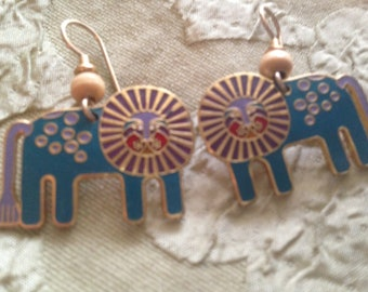 Laurel Burch LEONARDO LION CAT Cloisonne Earrings French Earwires Vintage Jewelry 1980s Gold Filled Turquoise Lilac