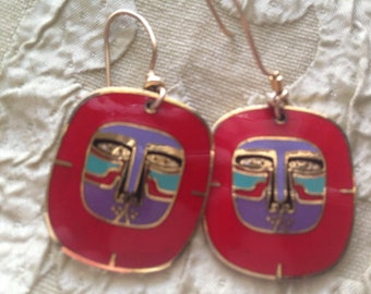 Laurel Burch RED MAYAN LION Cloisonne Earrings French Ear Wires Vintage Jewelry 1980s Red Purple Teal Black Gold