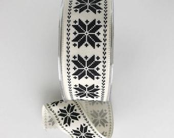 Scandinavian Snowflake Wired Ribbon Black on Ivory Winter Christmas Holiday Gift Wrap Scandi Style 5 Yards