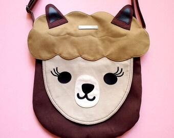 Alpaca Bag, Alpaca Purse, Crossbody Purse, Sling Bag, Llama Bag, Llama Purse, Alpaca Gifts, Llama Gift, Vegan Bag, Kitsch Bag - BROWN Alpaca