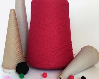 2/24 Acrylic Yarn on Cone - Red - 1  lb 13 oz - Machine Knitting - Weaving - Crochet - Loom