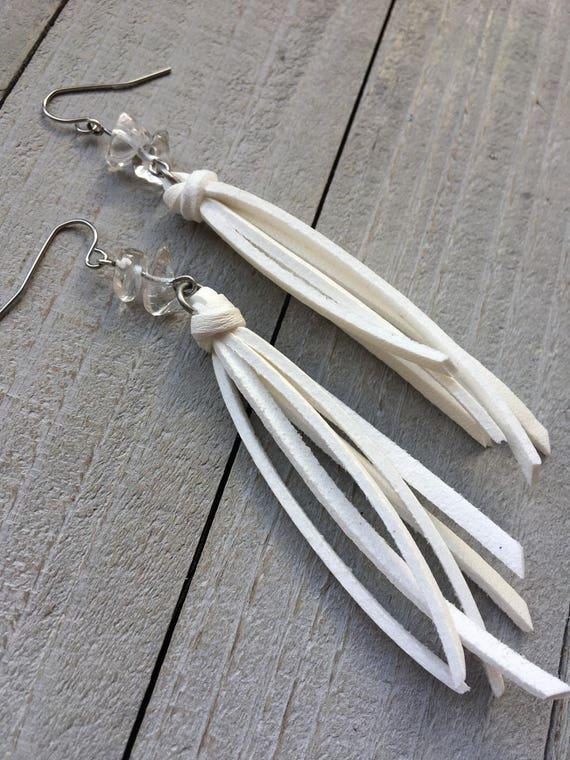 Fringe Tassel Earrings - White Faux Leather Tassel + Quartz Crystal