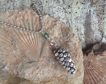 Large Woodland Pine Cone Necklace - antiqued silver pine cone necklace
