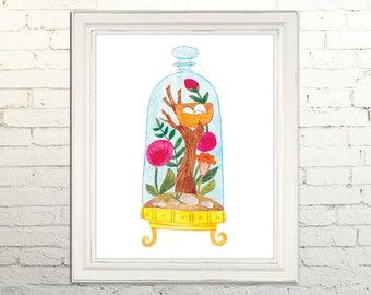TERRARIUM Printable Art Poster Print Watercolor Illustration Wall Art Decor Botanical Nature Plant Succulent Floral Flowers 8x10, 11x14