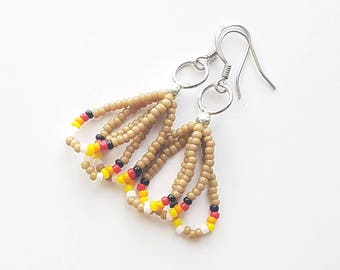 Short Tan Dangle Earrings