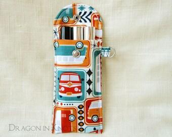 Retro Caravan Lip Gloss Holder - Tall or Short, Road Trip, Insulated Keychain Pouch, mini bus wagon, Lip Balm Case, hippie van, red blue