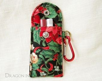 Lip Gloss Holder - Insulated Pouch with Carabiner Clip, Christmas poinsettia flower, red and green on black, mini holiday lipstick case
