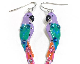 Tropical Parrot Earrings in Fun Bright Colors