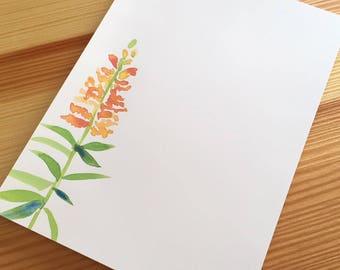Snapdragon Floral Notepad Stationery - Watercolor Flower Notepad - Floral Garden Notepad - Orange Flower Notepad - 40 Sheet Handmade Notepad