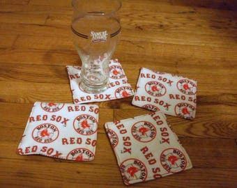 Set of 4 Red Sox Coaster Mug or Cup Reversible Coasters Heat insulated