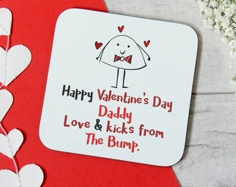 Happy Valentine's day coaster, from the bump gift, daddy valentine, dad to be, valentine gift, baby bump, daddy to be gift, pregnant gift,uk